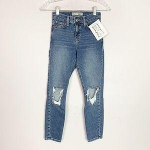 Topshop Moto Jamie jeans busted knee skinny jeans
